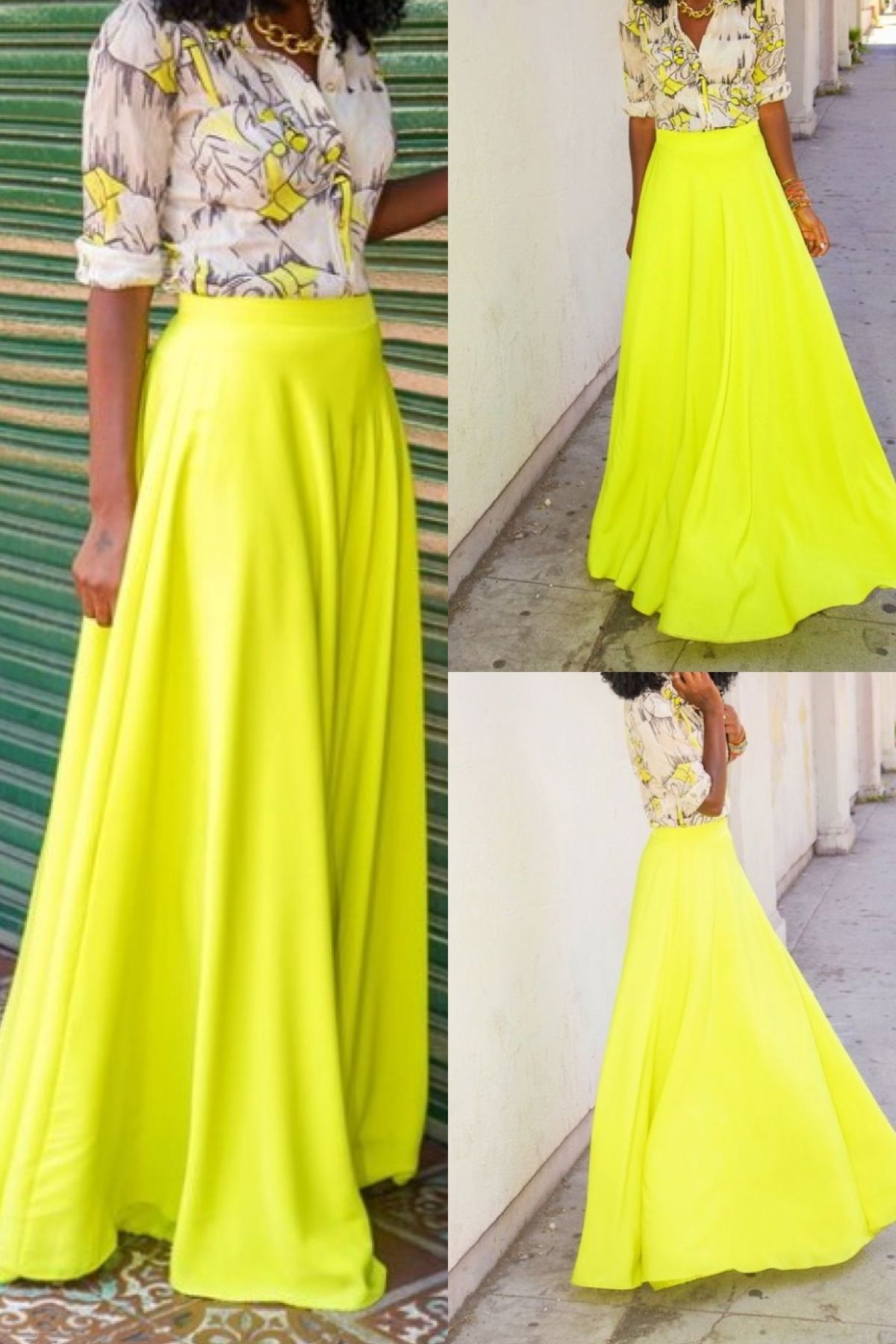 neon maxi skirt with printed blouse look book