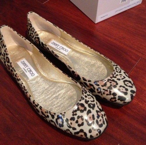 Jimmy Choo Patent Leopard Print Flat Shoes Sz 38 5 8 1 2 US   eBay