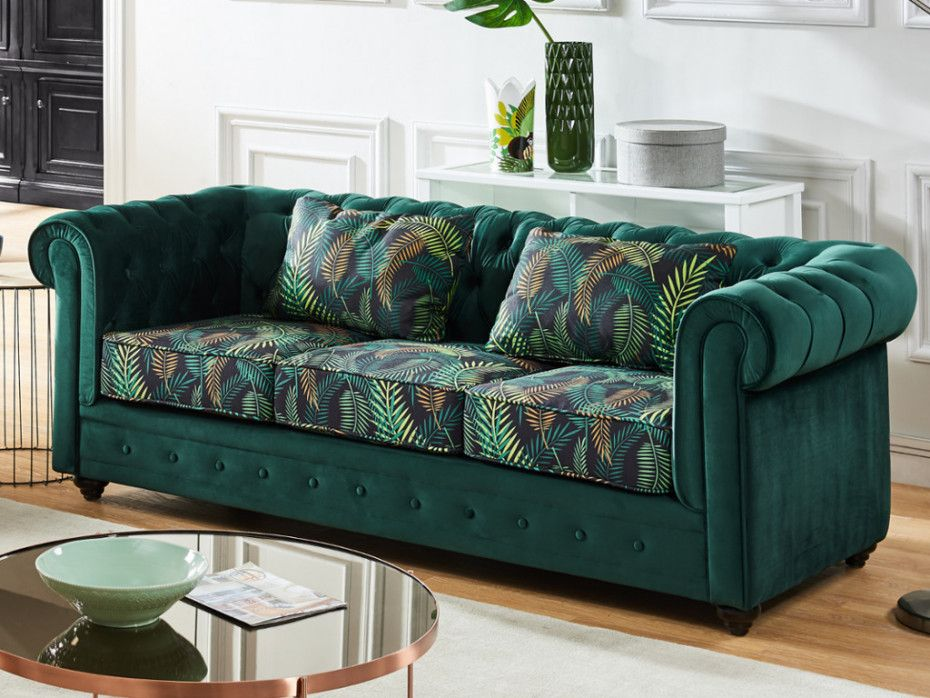 Canape 3 Places Chesterfield Velours Anthracite Canape Vert