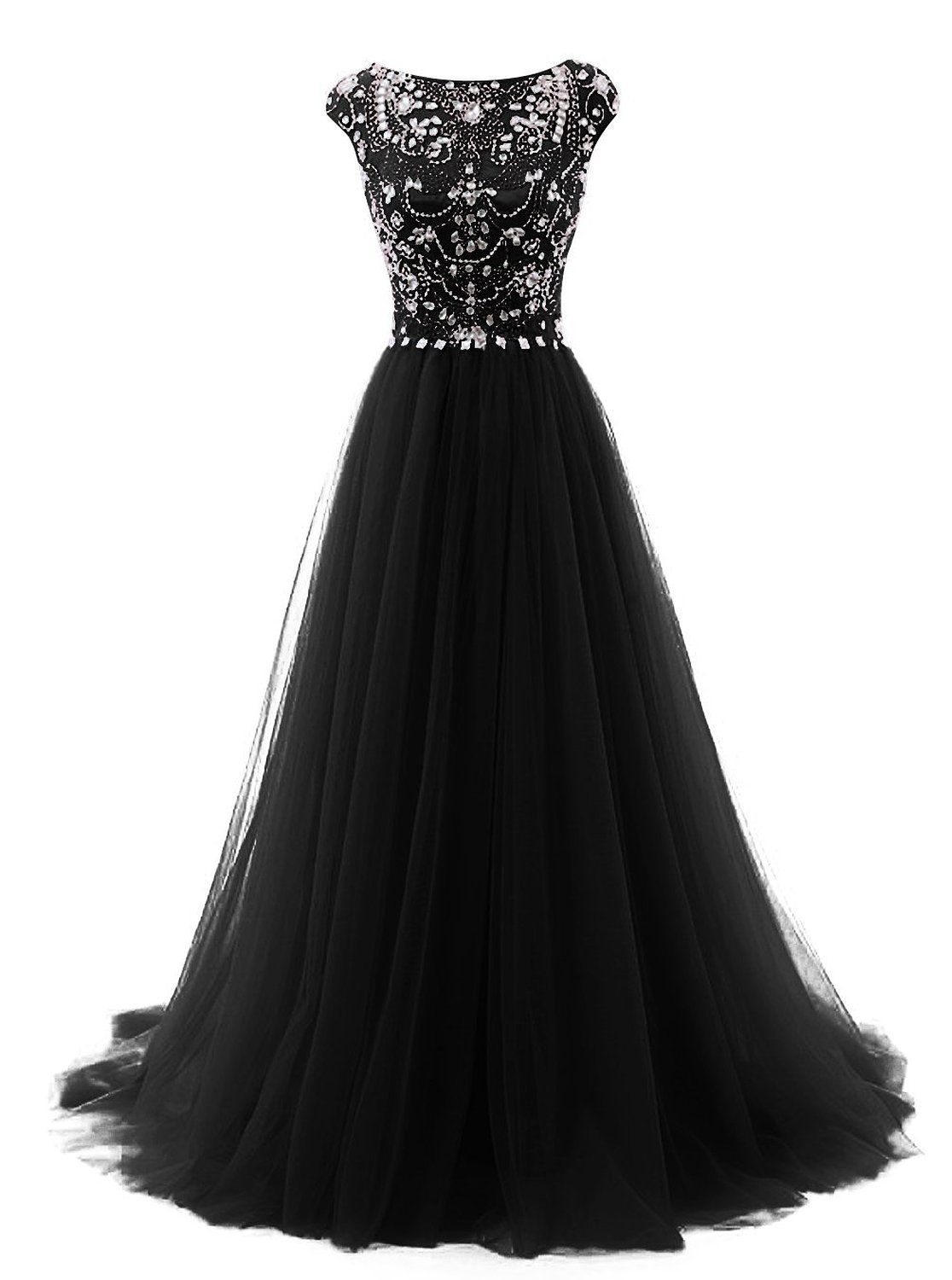 Tideclothes long beads prom dress tulle cap sleeves evening dress