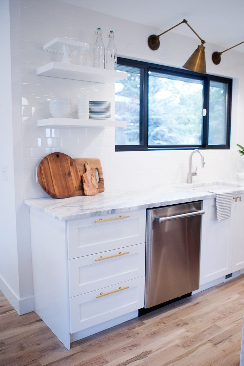 Semihandmade Diy Shaker Ikea Kitchen Courtesy Of Jennifer Stagg And Withheart Com Floating Shelves A Kitchen Cabinet Remodel Kitchen Layout Kitchen Renovation