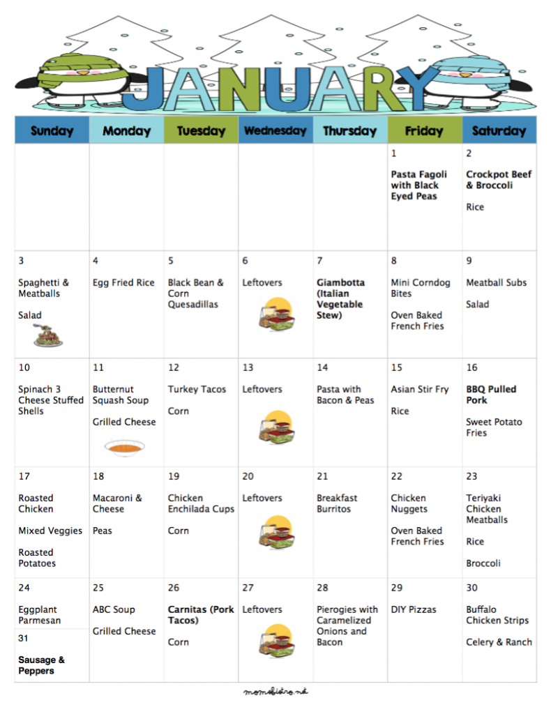 Free money saving weekly meal plans printable plans with family - A Meal Plan To Save You Money On Groceries In The New Year 31 Days Printable Budgetfree