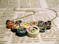 Magazine rolls used to make a necklace.  Instructions (sort of) on site.