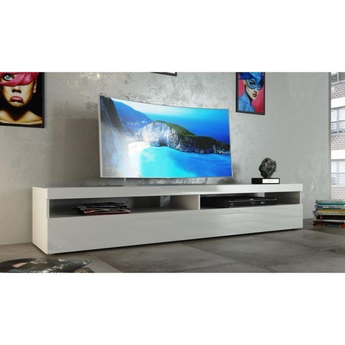 burrata modern tv cabinet in white gloss finish optional lights - Meuble Tv Blanc Moderne