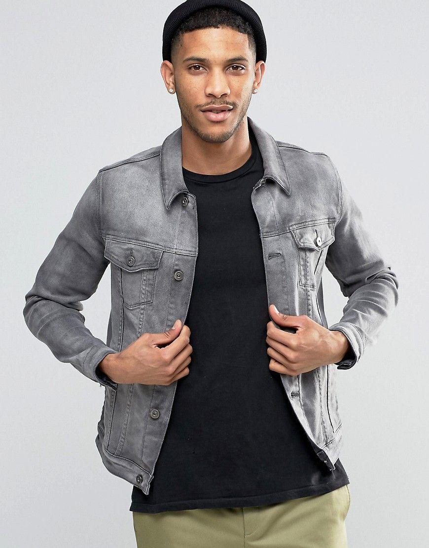 Image 1 Of Asos Denim Jacket In Skinny Fit In Grey Wash Asos Denim Denim Jacket Men S Trench Coat [ 1110 x 870 Pixel ]