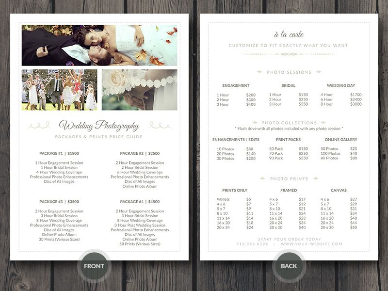 Wedding Photographer Pricing Guide / Price Sheet List   Photoshop PSD  Template   Easy Editing: Change Colors, Photos And Details Fast
