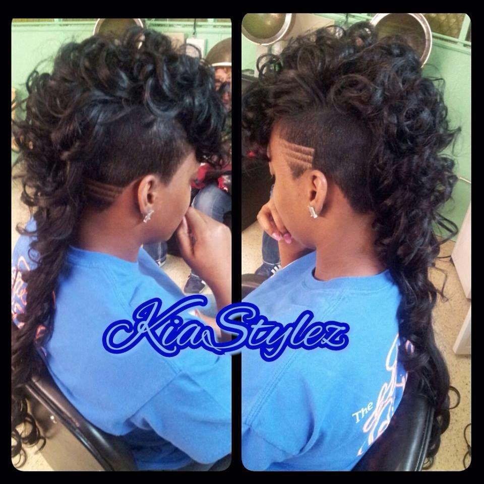 curly long mohawk | beautiful.<3 | shaved hair designs, long