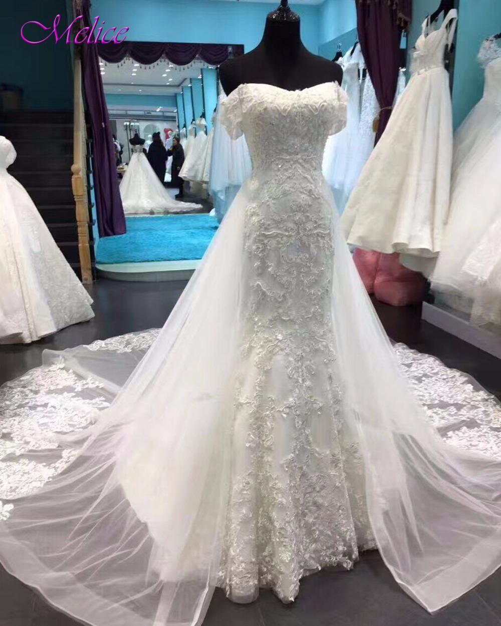 Lace mermaid wedding dress with train  Fmogl Gorgeous Appliques Detachable Train Mermaid Wedding Dress