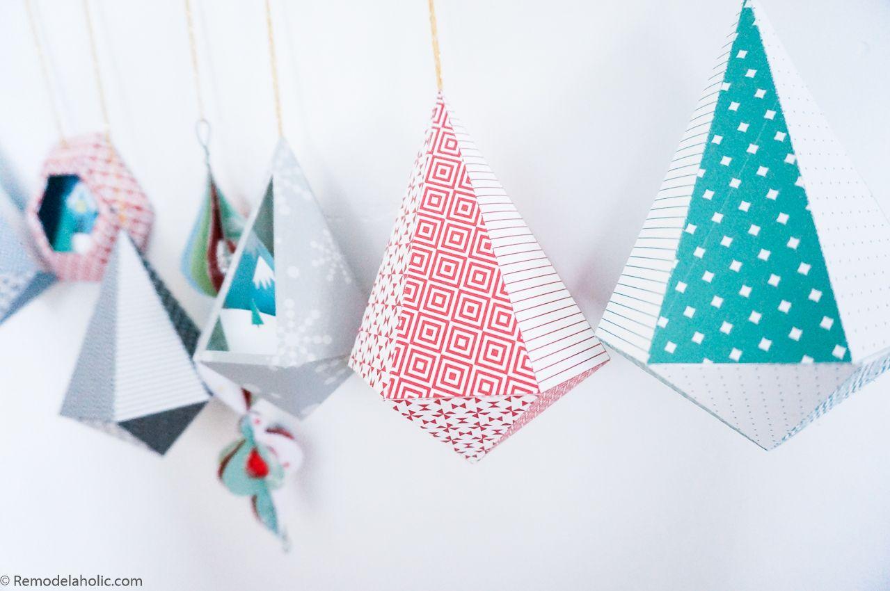 Printable Diy 3d Geometric Paper Ornaments For The Christmas Tree Printable Christmas Decorations Paper Ornaments Paper Christmas Ornaments