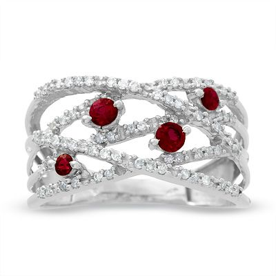 Ruby And Diamond Orbit Band In 10k White Gold Clearance