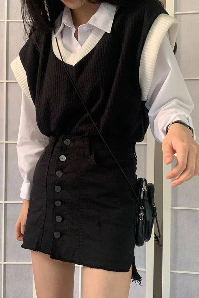 Black And White School Outfits With Vest
