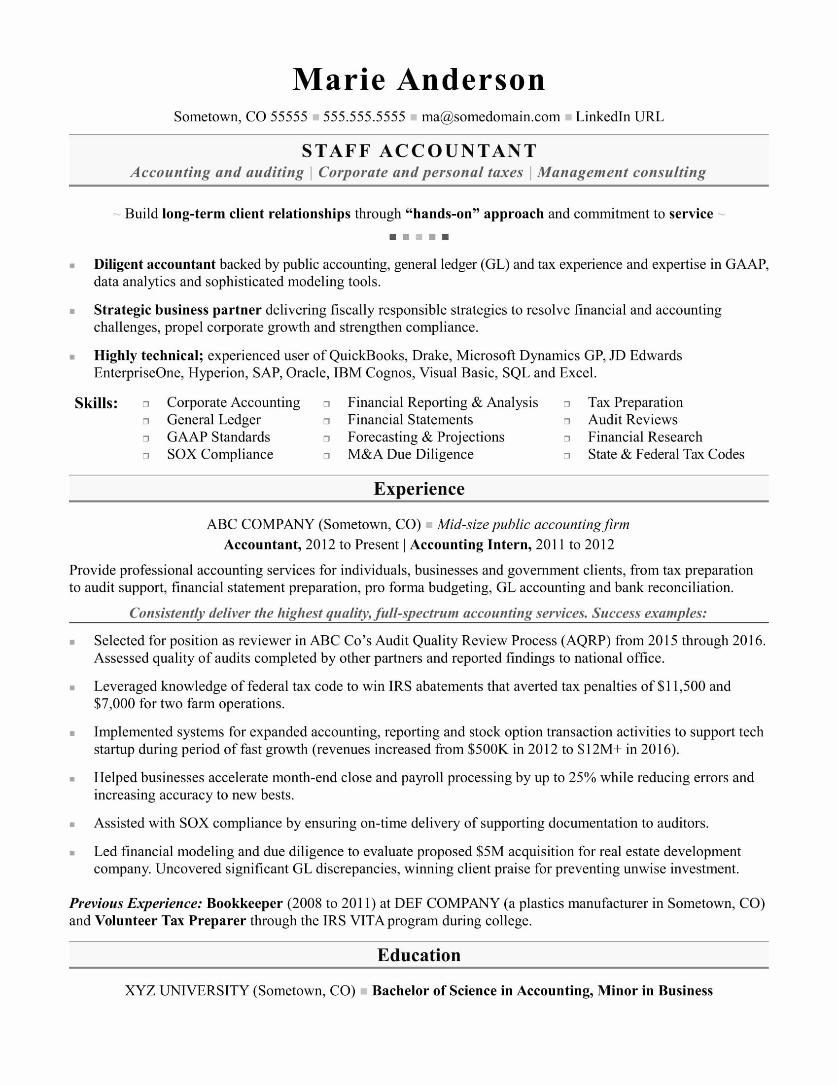 Staff Accountant Resume Examples Fresh Accounting Resume