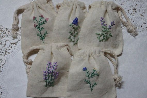 Embroidered Botanical Muslin Bags (Set of 5 Bags)