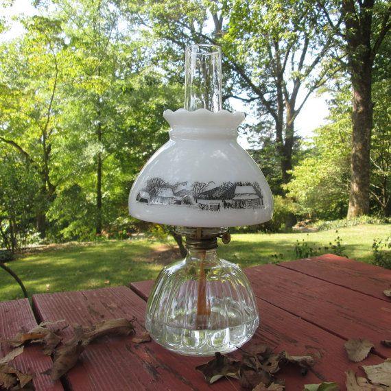 Vintage Lampshade For Kerosene Oil Lamp Currier Ives Black On White Oil Lamps Lamp Currier And Ives