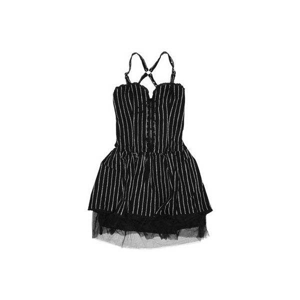 Mercy - 'Ramona' Pinstripe Dress (Black/White) ($33) found on Polyvore