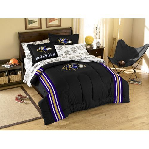 Baltimore Ravens NFL Embroidered Comforter Set (Twin/Full) (64 x 86)