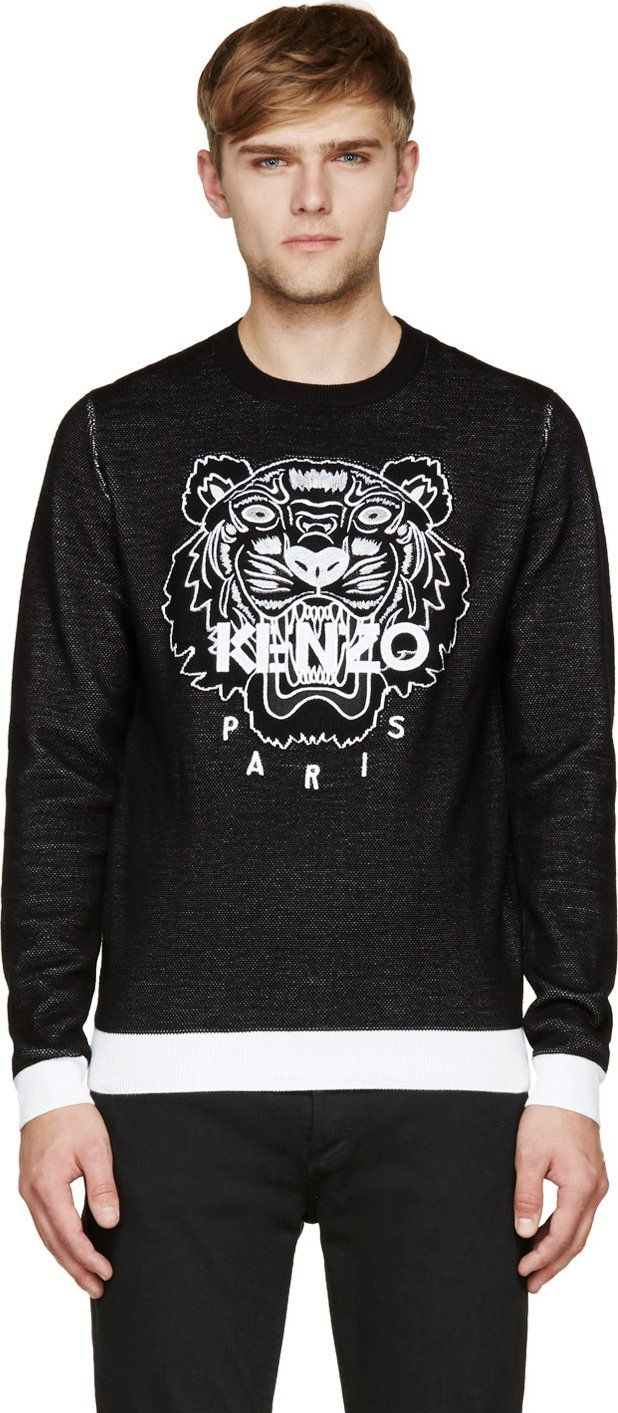 9a595b34f Kenzo: Black Embroidered Tiger Sweater | SSENSE | Kenzo in 2019 ...