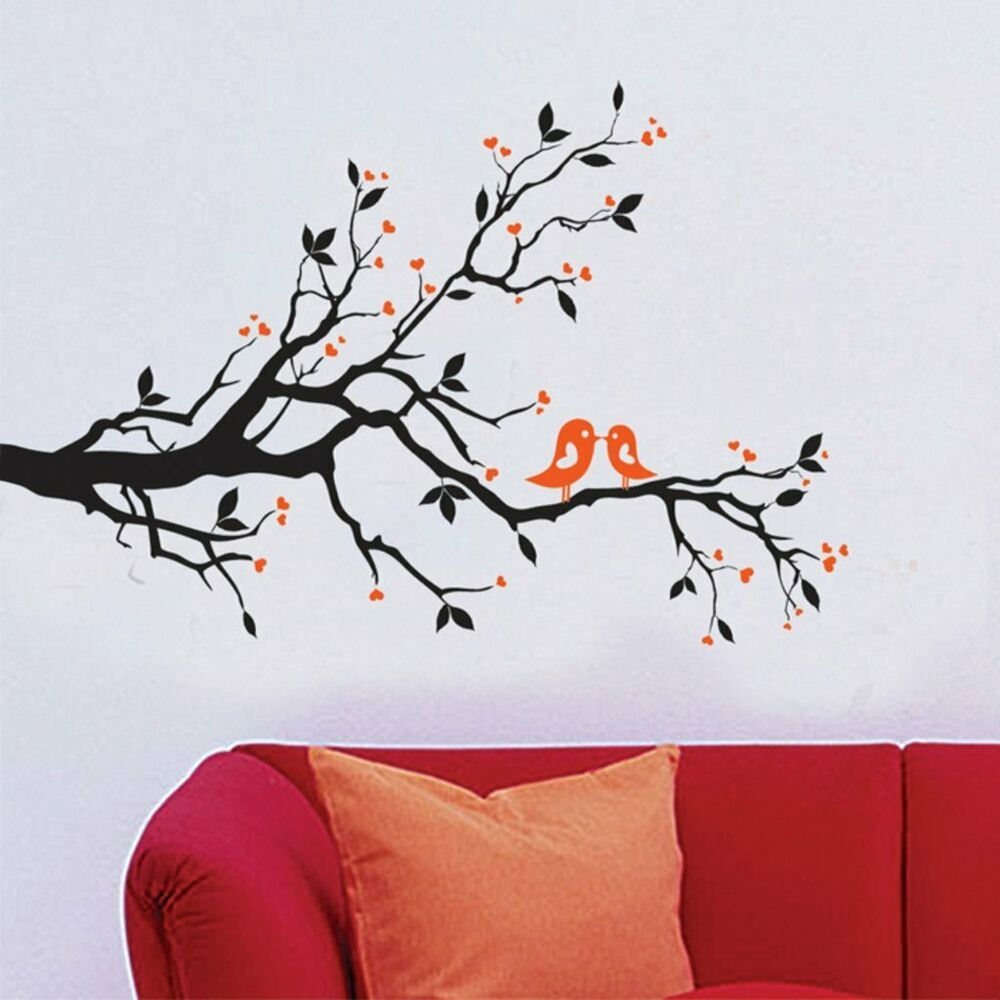 Wall Sticker Decals Design Branch With Lovely Birds Matte Finish Multicolour Fashion Home Wall Sticker Design Tree Wall Stickers Contemporary Wall Stickers