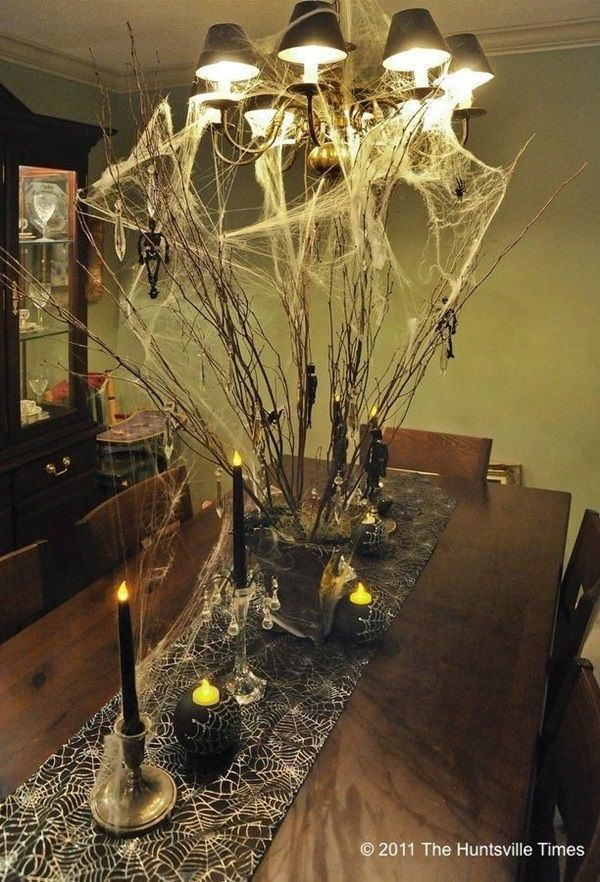 we could web-up the kitchen pendant chandelier Halloween DIY Party - unique halloween decor