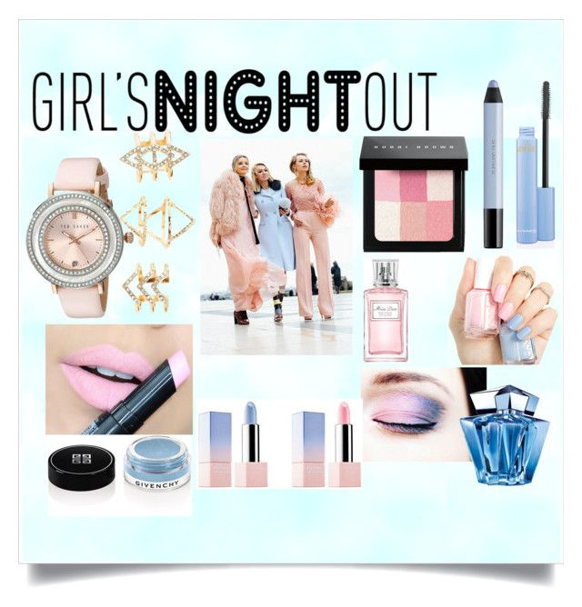 """""""Girls Night out"""" by willy3384 ❤ liked on Polyvore featuring beauty, Ted Baker, Charlotte Russe, Fiebiger, Christian Dior, Bobbi Brown Cosmetics, Givenchy, shu uemura, Thierry Mugler and Pink"""