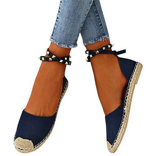 0c06737de61 Dellytop Womens Espadrille Sandals Cut Out Side Ankle Strap Closed ...
