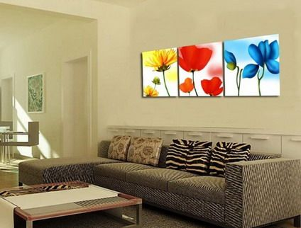 Colorful Flowers Wall Stickers Painting for Modern Wall Art Decor ...