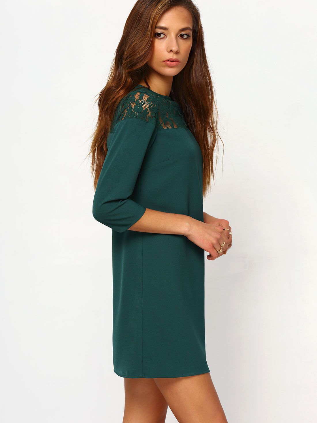 33a1577b8002 Dark Green Round Neck With Lace Dress