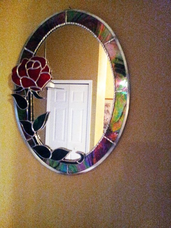 Super Stained Glass *Mirror with Red Rose,Wall Hanging Mirror,Glass  QK32