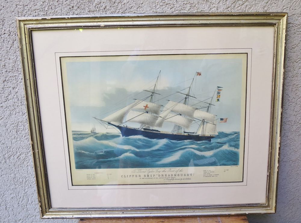 Currier Chipper Ship Dreadnought Framed  & Matted Near Sandy Hook #Vintage