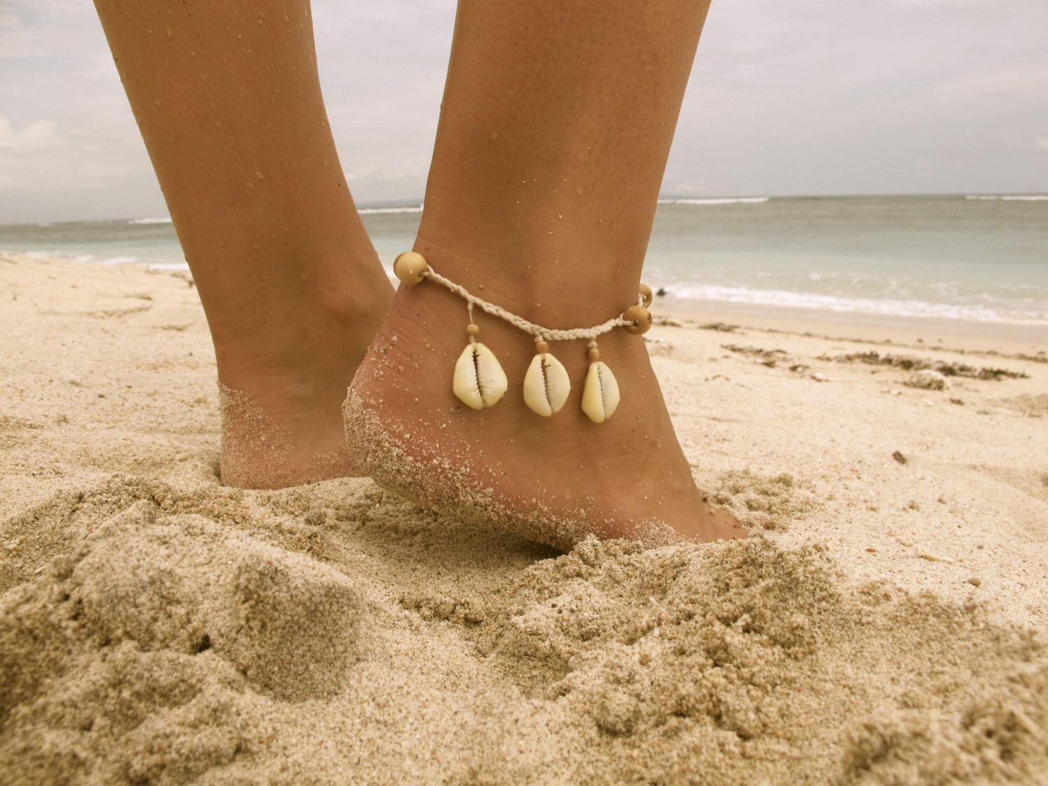 Driftwood Cowrie Anklet Wooden Beaded with Cowrie Shells and Cotton Tassel