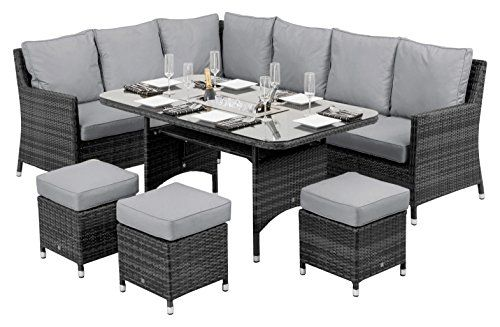 Maze Rattan Venice Corner Sofa Dining Set With Luxury Inset Ice Bucket In A Mixed Grey Weave Outdoor Living Rattan Garden Furniture Sets Garden Furniture