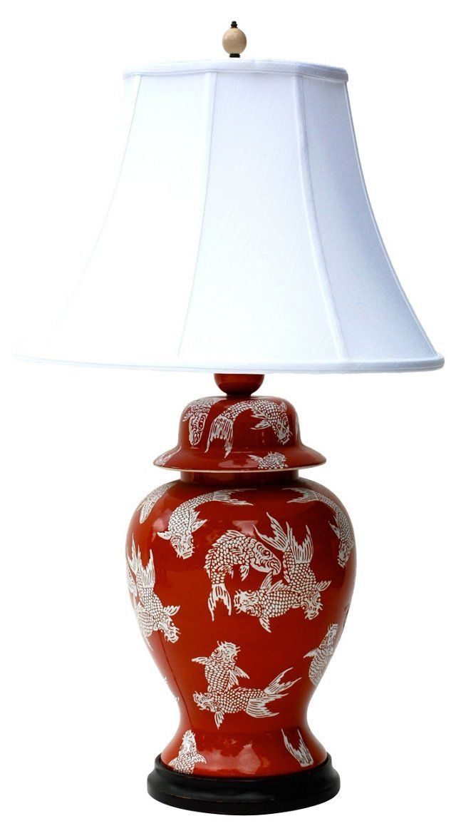 Large Chinoiserie Red Koi Table Lamp A With