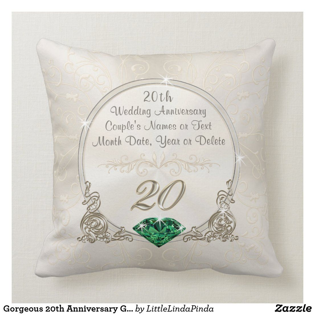 20th Anniversary Gifts, Personalized Throw Pillow