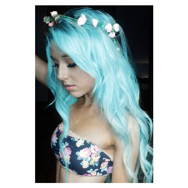 Pastel Blue Hair ❤ liked on Polyvore featuring beauty products and haircare