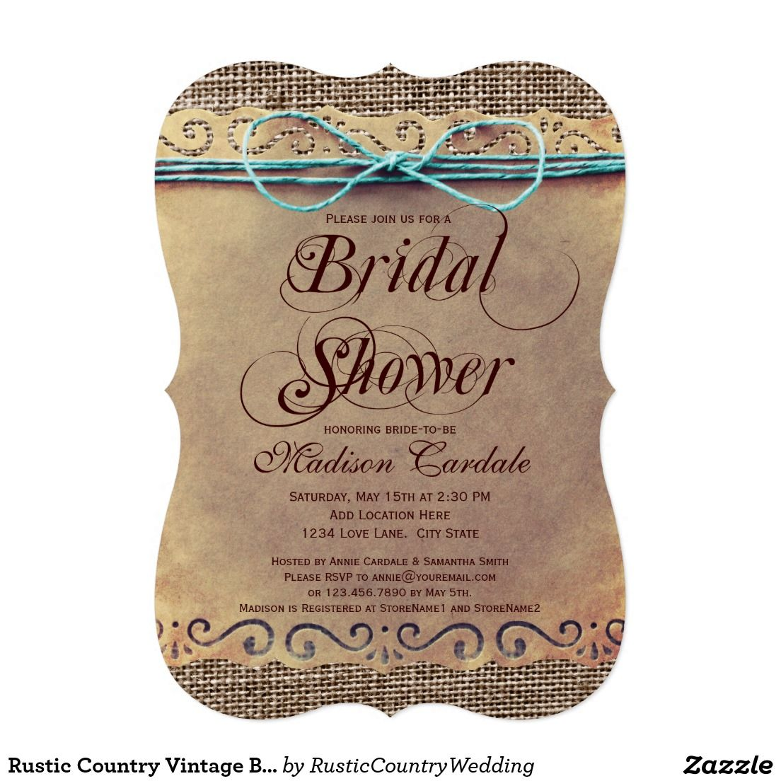 Rustic Country Vintage Bridal Shower Invitations 5\
