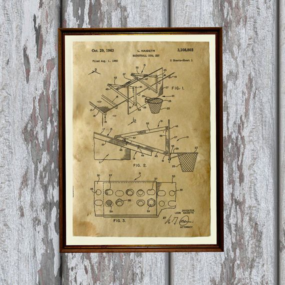 Patent art print - handmade antique home decor. Basketball print. Sport poster printed on aged paper.  SIZE: 8.3 x 11.7 (A4)  Paper for each print is