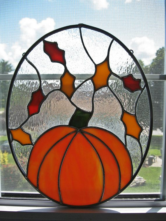 Fall Leaves and Pumpkin Stained Glass Panel by StainedGlassYourWay, $60.00
