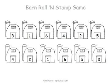 farm roll and stamp numbers game via www.pre-kpages.com