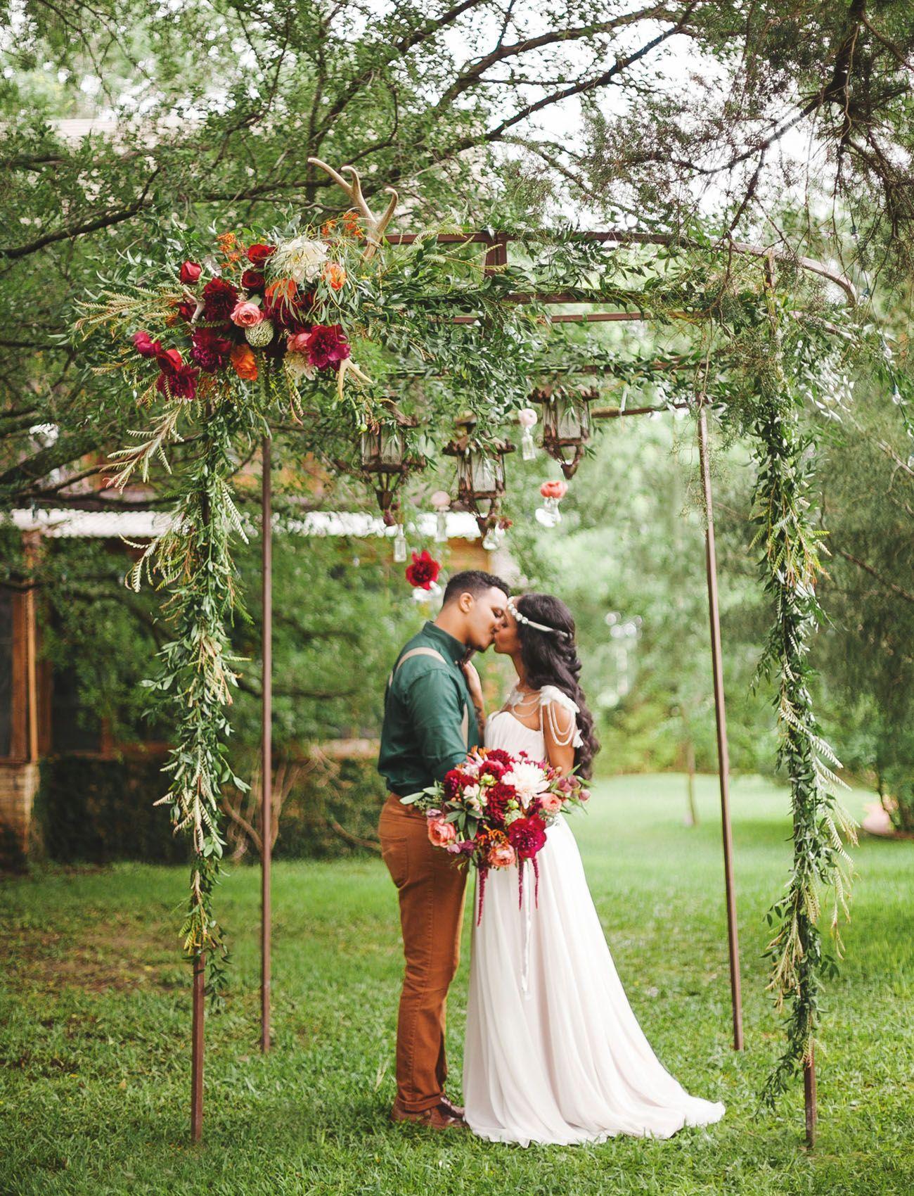 Boho floral greenery backdrop weddingshoes wedding shoes