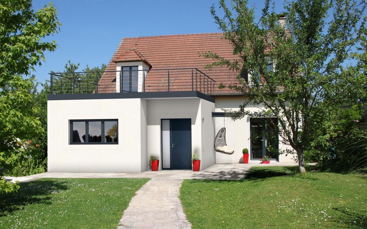 extension de maison moderne avec toit plat, terrasse | Deco ... - Photo De Maison Moderne