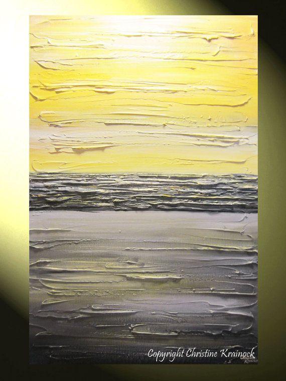 ORIGINAL Art Abstract Painting Yellow Grey Textured Artwork Coastal ...