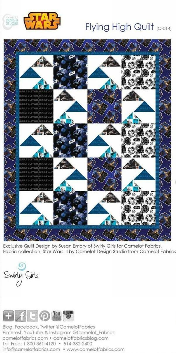"This free downloadable pattern by Camelot Fabrics for a 62"" x 74"" quilt, is perfect for your sci-fi fan with Star Wars fabric or Star Trek fabric. For…"