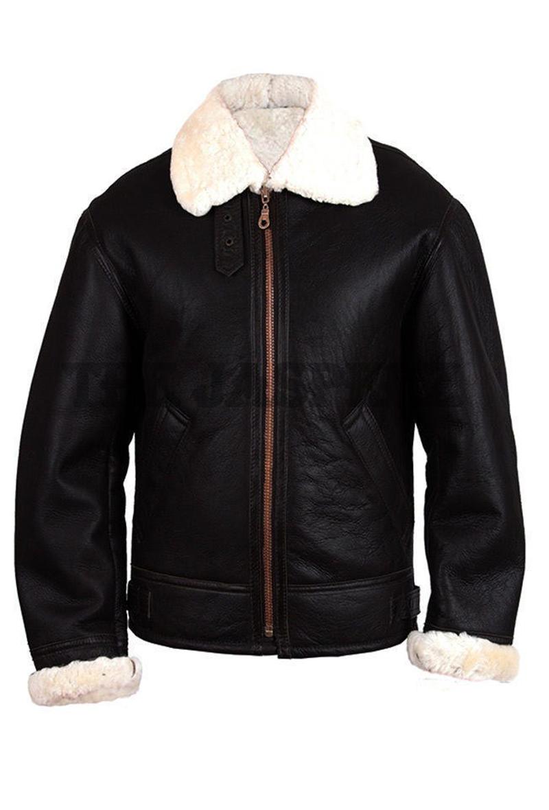 B3 Aviator Bomber Black Jacket Mens Shearling Fur Jacket Fur Leather Jacket Mens Black Jacket Leather Jacket [ 1180 x 800 Pixel ]