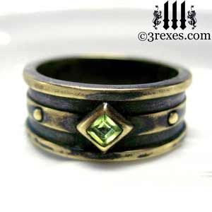 mens moorish gothic one stone ring dark black antiqued brass green peridot stone royal medieval wedding - Medieval Wedding Rings