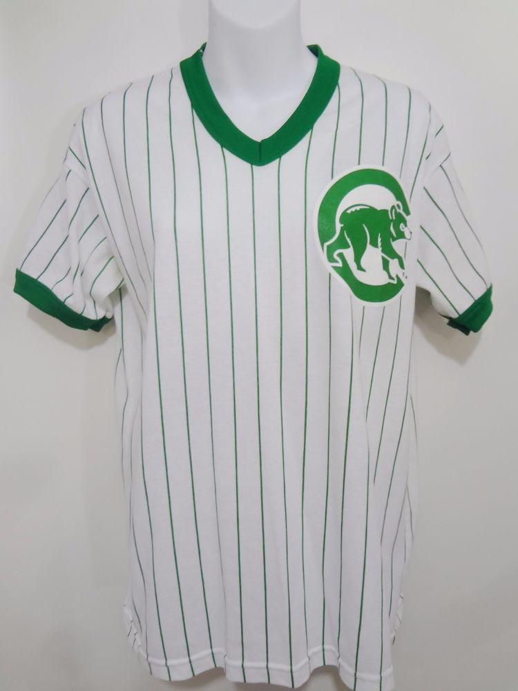 12ea3b37 Chicago Cubs Majestic Green White Pinstripe Short-Sleeve T-Shirt Vintage  Youth L #Majestic #ChicagoCubs