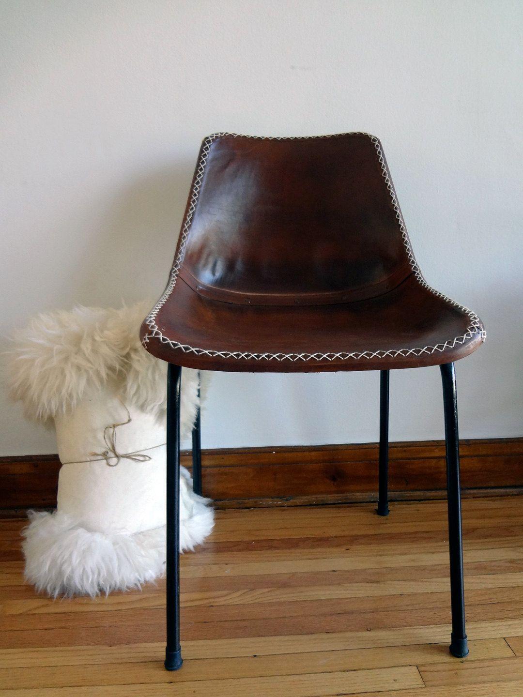 Rare LeatherBound Eames Era School Chair. 225.00, via