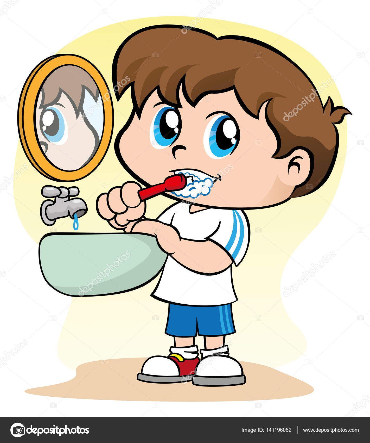 Descargar Ilustracion Que Representa A Un Nino Cuidando De Su Higiene De Pezon Cepillarse Los Dientes Ilustracion Tooth Cartoon Brush My Teeth Illustration