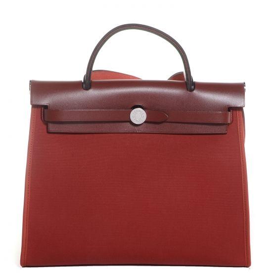 Hermes Toile Herbag Zip 31 Pm Rouge H Used Designer Handbags Hermes Handbag Accessories