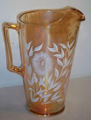 Vintage Pressed Glass Pitcher Handle Carnival Orange Reflective White Flowers Vintage Pressed Glass Carnival Glass Collection Glass Pitchers