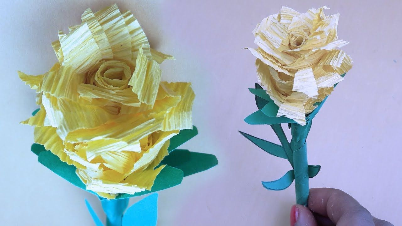 Origami Crepe Paper Flower Crepe Paper Rose Step By Step Making